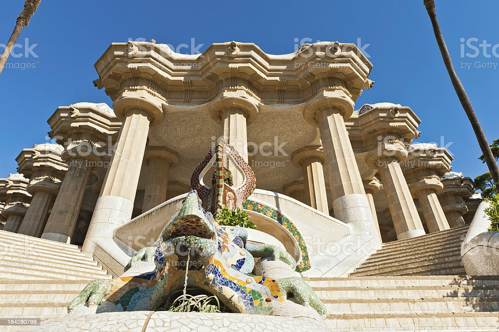 Parc Guell Gaudi's mosaic dragon terrace Barcelona Spain stock photo