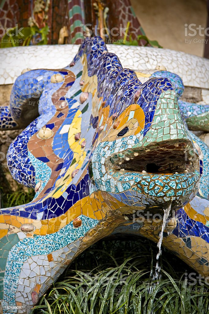 Parc Guell Lizard Fountain by Gaudì, Barcelona Symbol stock photo