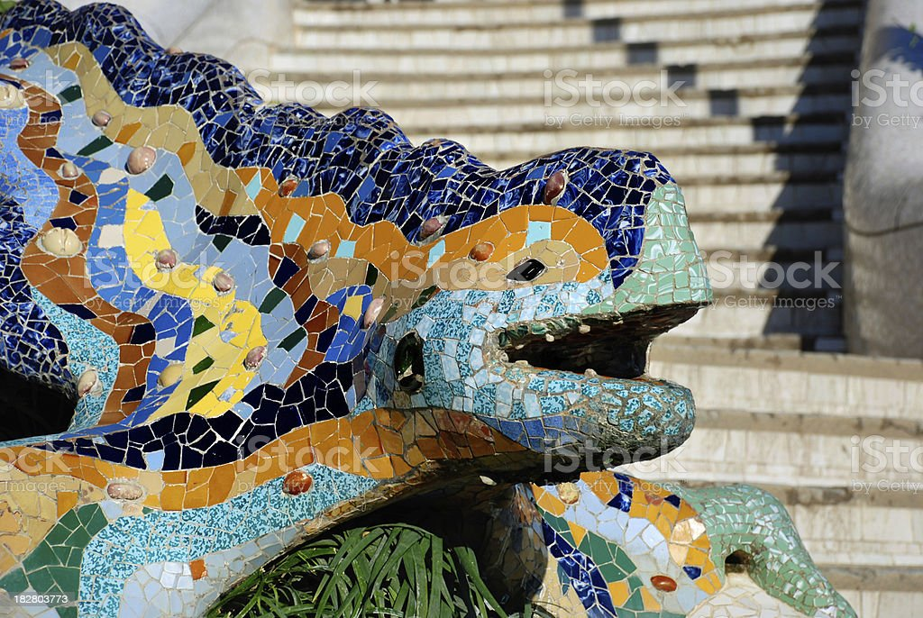Parc Guell Lizard Fountain by Gaudi, Barcelona royalty-free stock photo