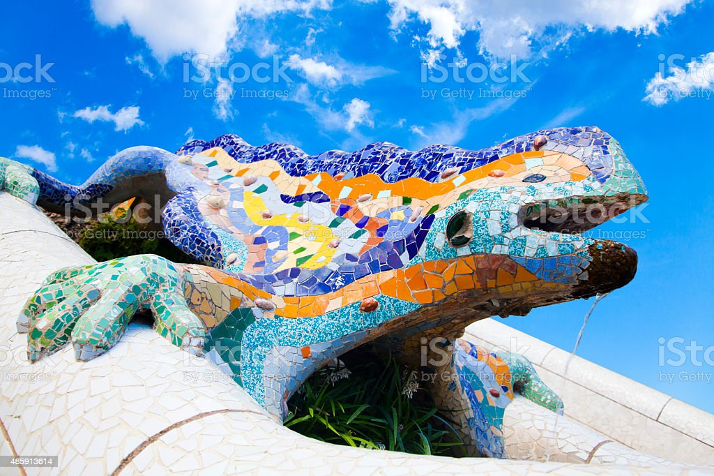 Parc Guell Lizard Fountain Gaudi Barcelona, Spain stock photo