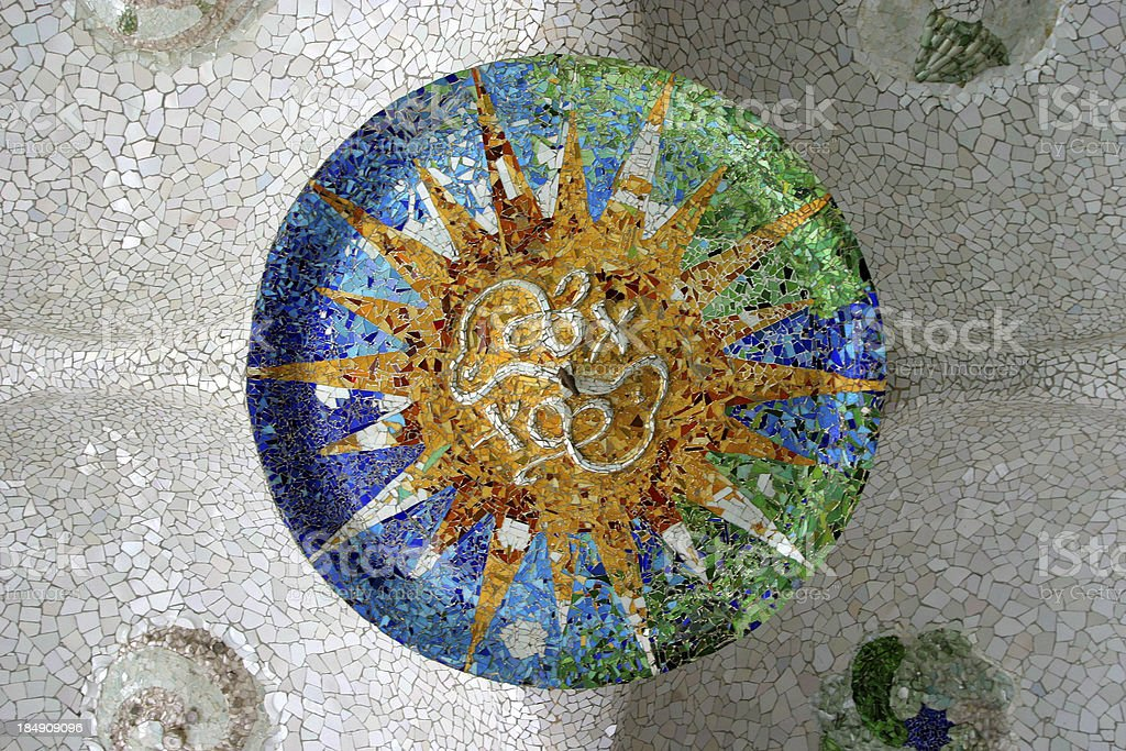 Parc Guell Tile by Gaudi Design Barcelona royalty-free stock photo