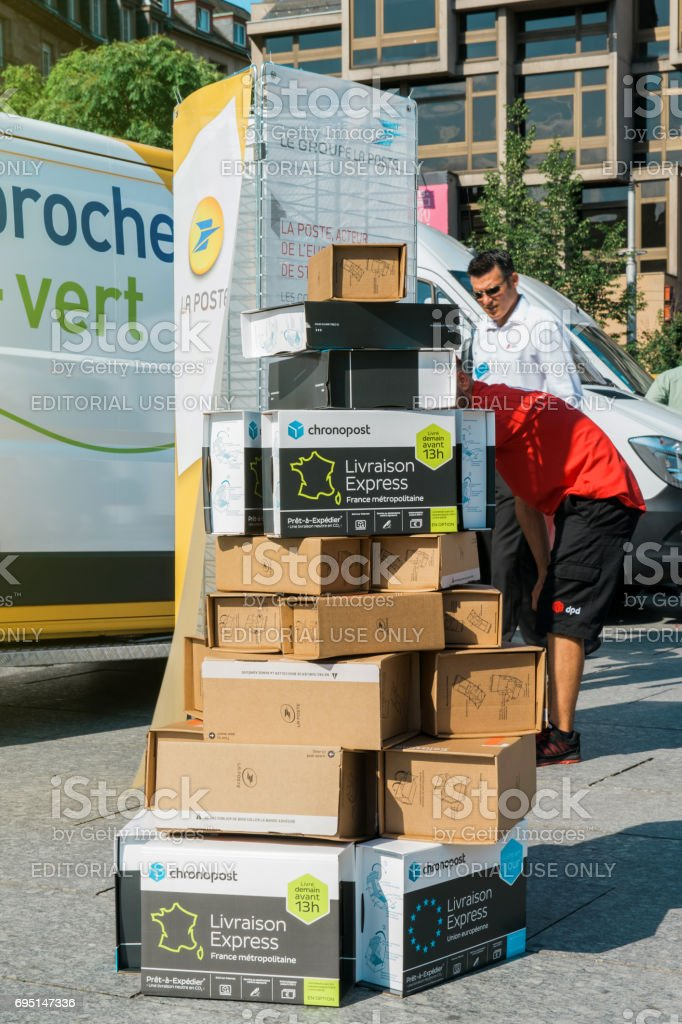 Parcel delivery box one above another stock photo