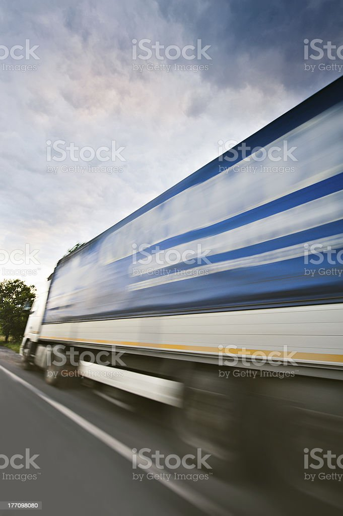 Parcel delivery - truck on the highway royalty-free stock photo