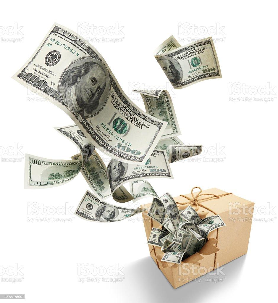 parcel full of money stock photo
