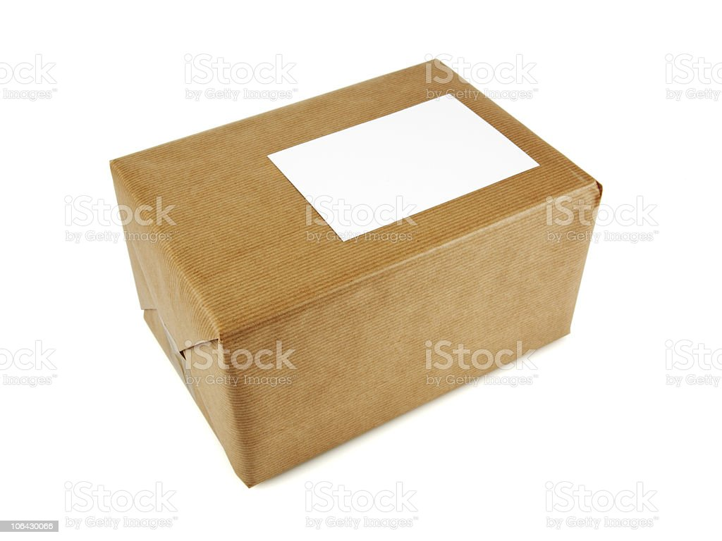 parcel isolated on white royalty-free stock photo