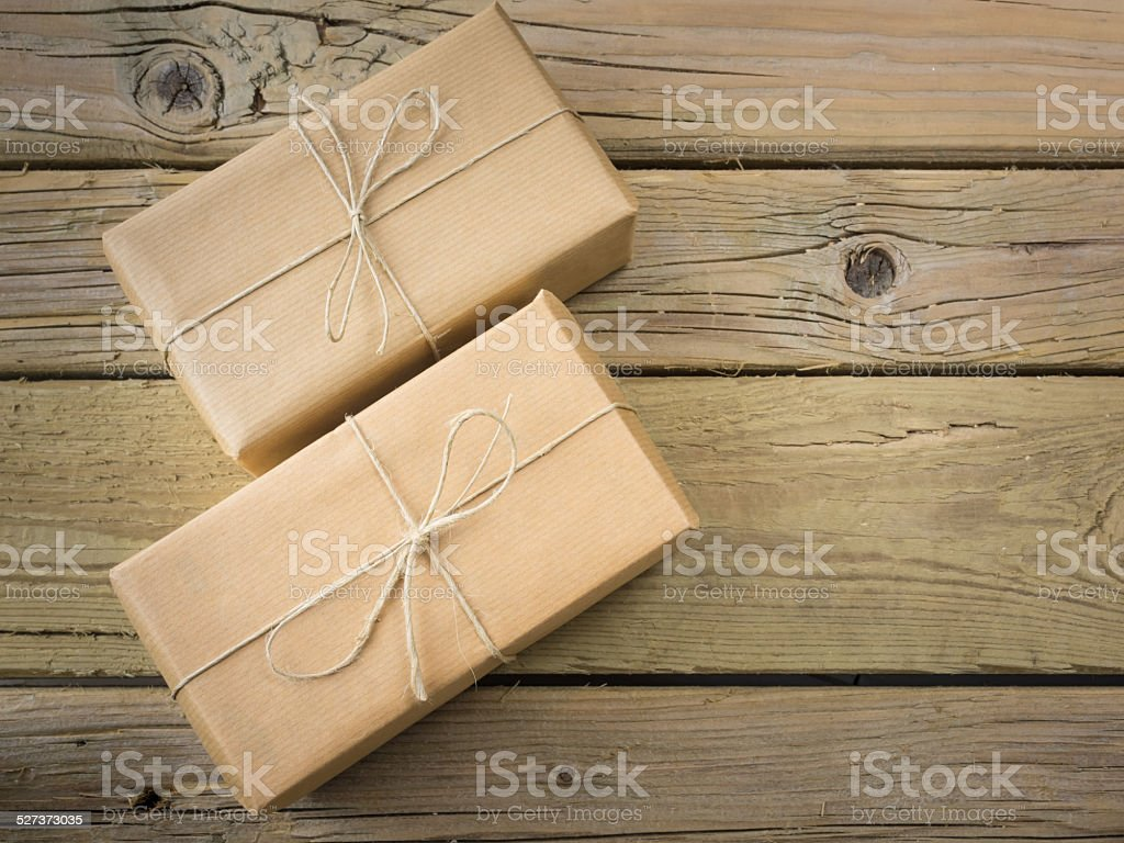 parcels  wrapped in brown paper and string stock photo
