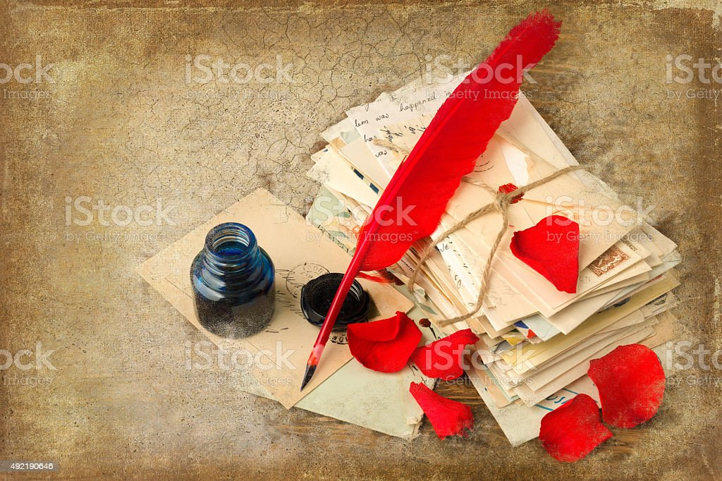 Parchment and old letters stock photo