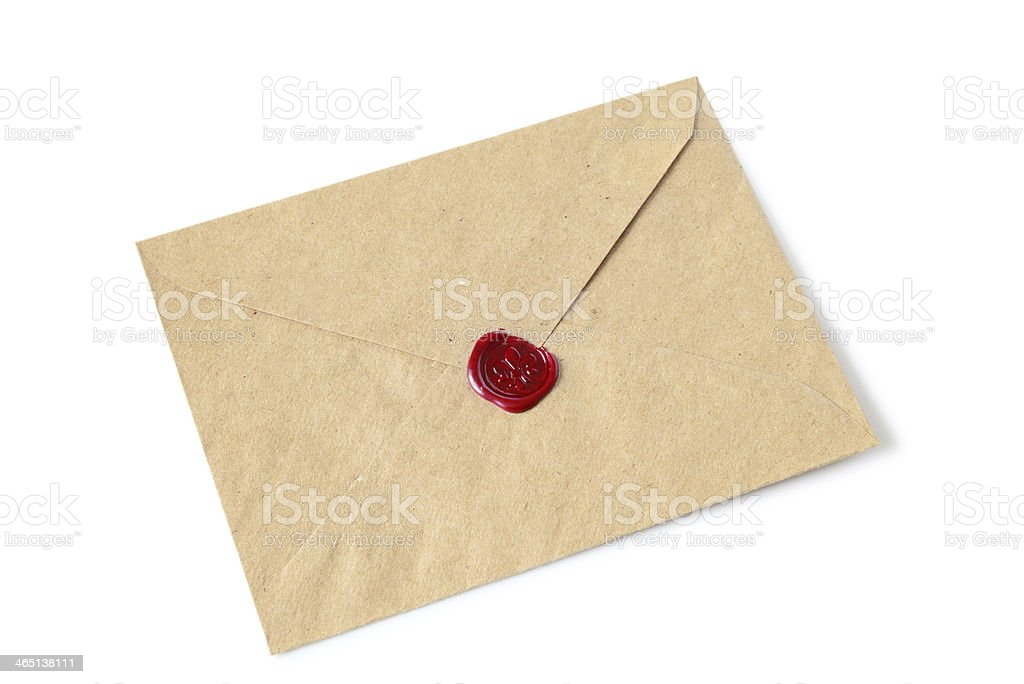 Parchment colored envelope, sealed with red wax stock photo