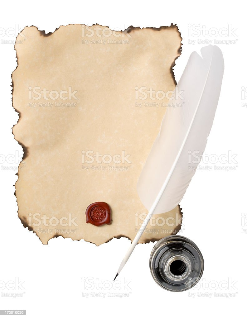 Parchment Paper and White Feather Quill with Wax Seal royalty-free stock photo