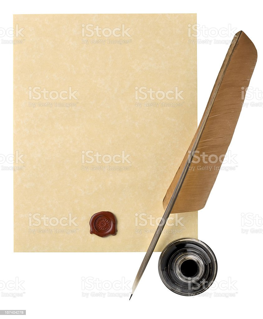 Parchment Paper with Brown Feather Quill, Wax Seal. Clipping Path stock photo