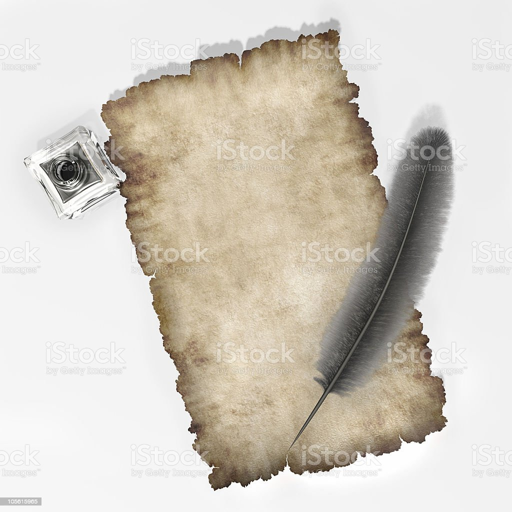 Parchment paper with quill and inkpot background royalty-free stock photo