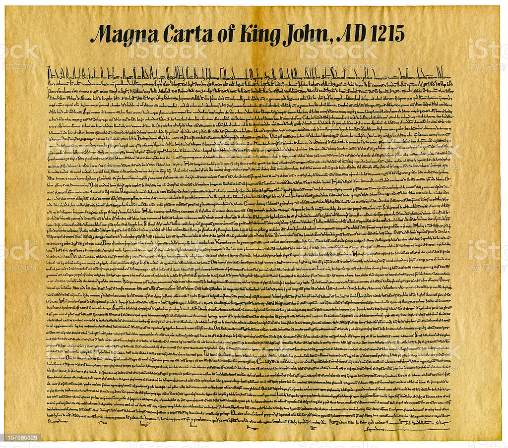 Parchment Replica the Magna Carta of King John stock photo