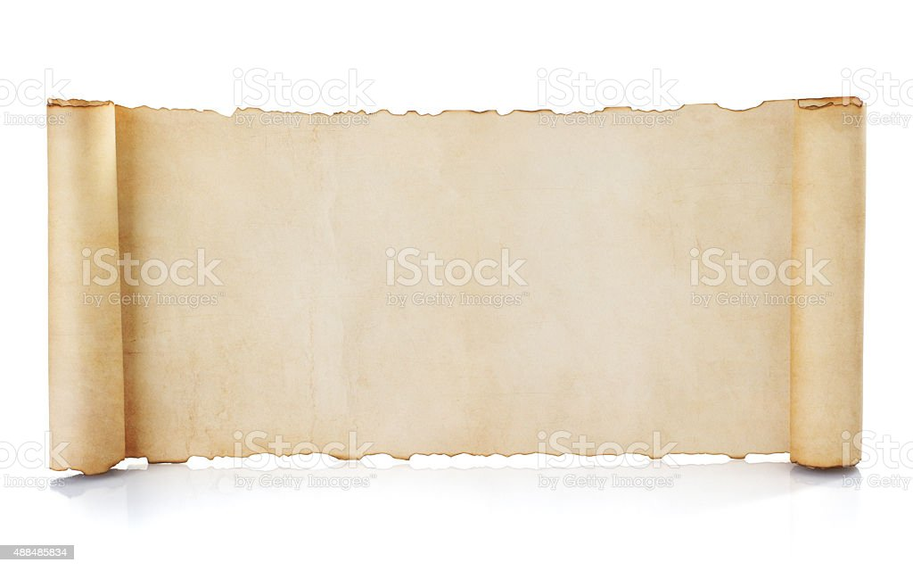parchment scroll isolated on white stock photo