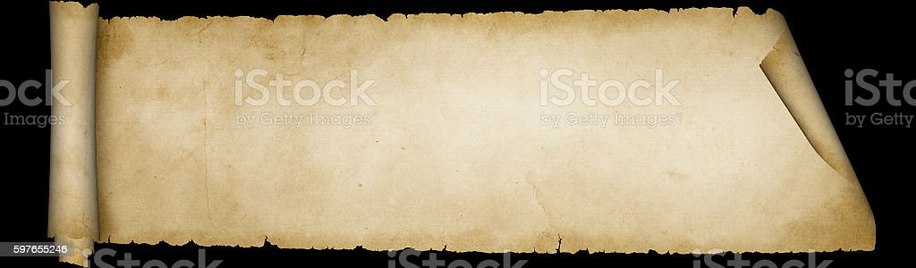 Parchment scroll on black background. stock photo