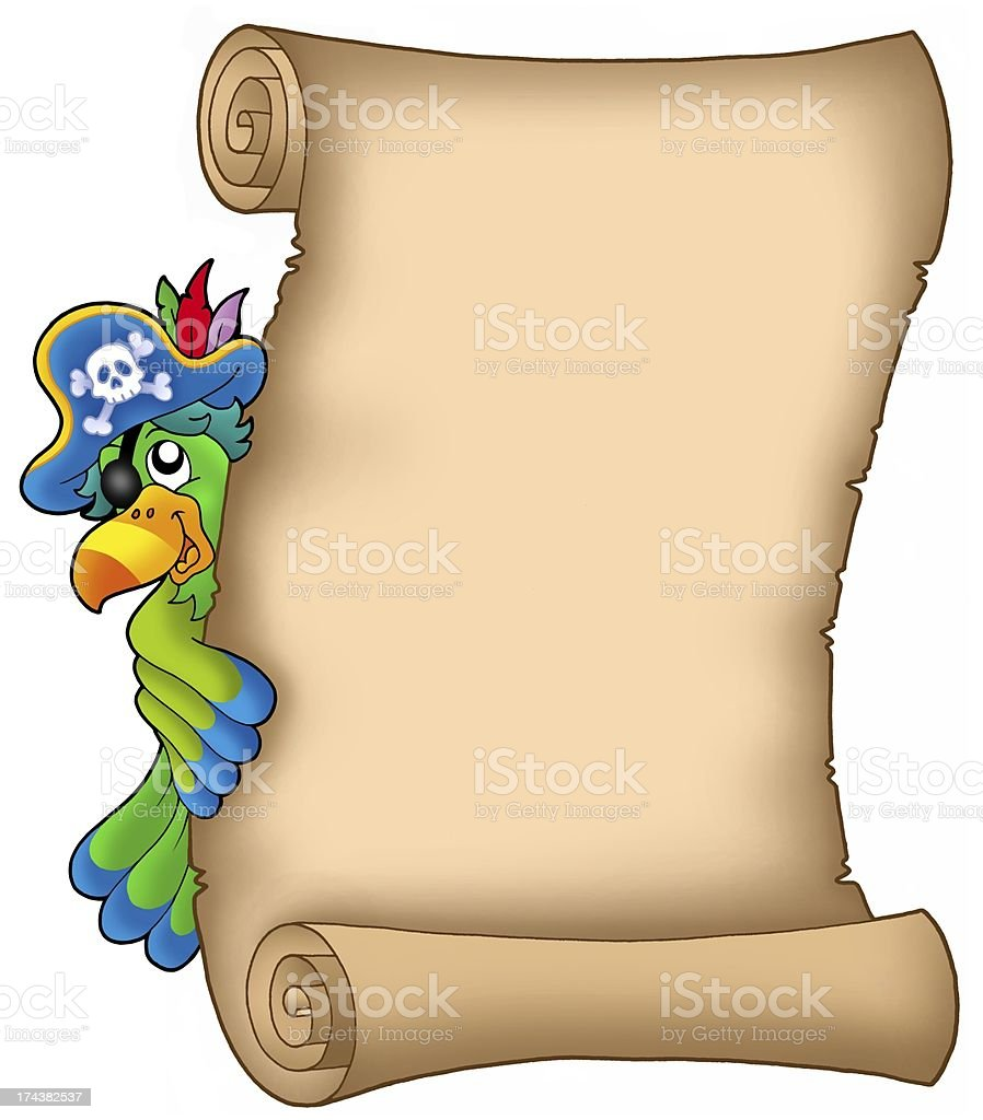 Parchment with lurking parrot royalty-free stock photo