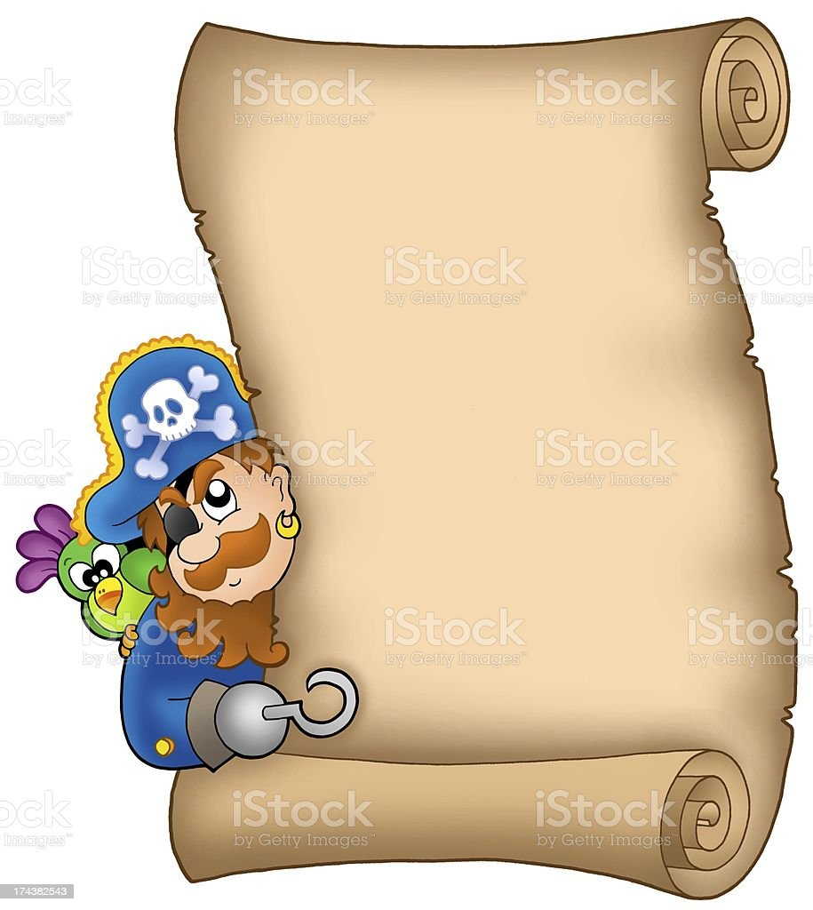 Parchment with lurking pirate royalty-free stock photo