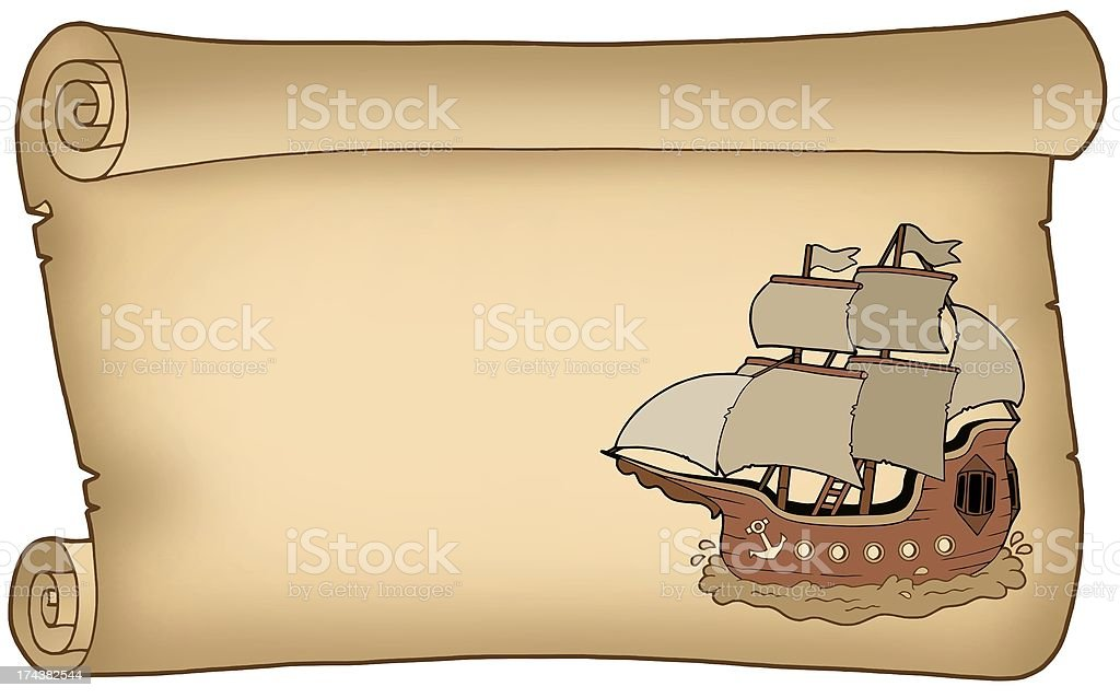 Parchment with old ship royalty-free stock photo
