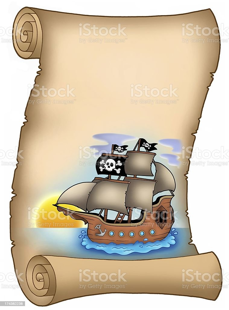 Parchment with pirate ship royalty-free stock vector art