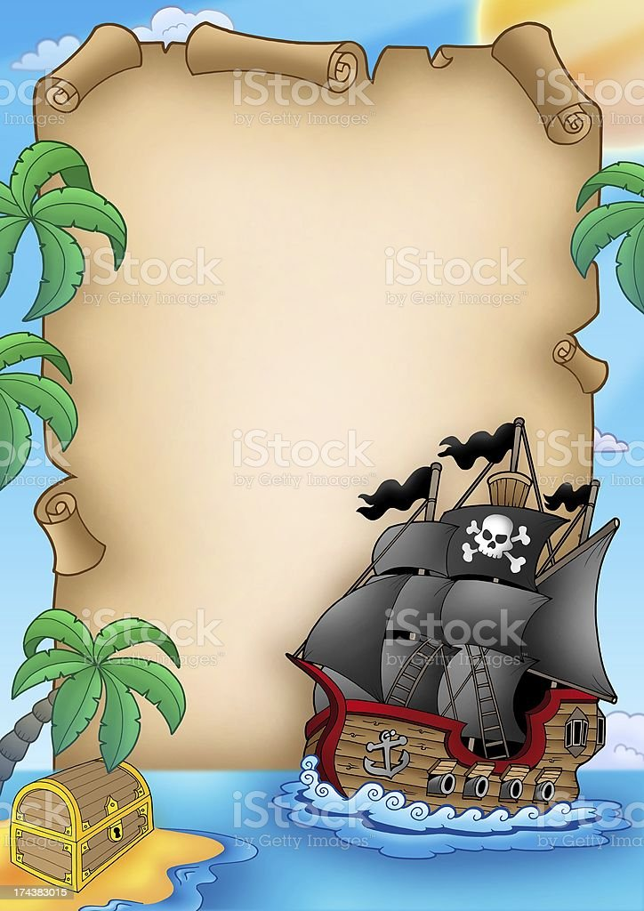 Parchment with pirate vessel royalty-free stock photo