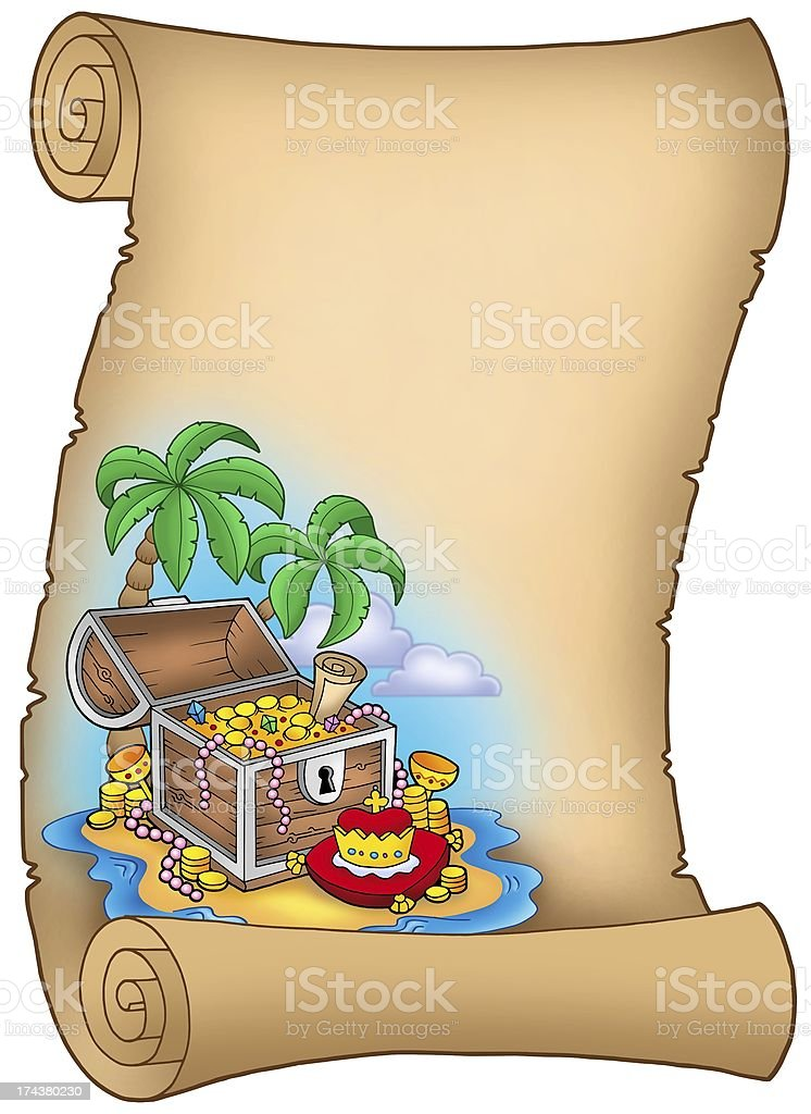 Parchment with treasure on island royalty-free stock photo