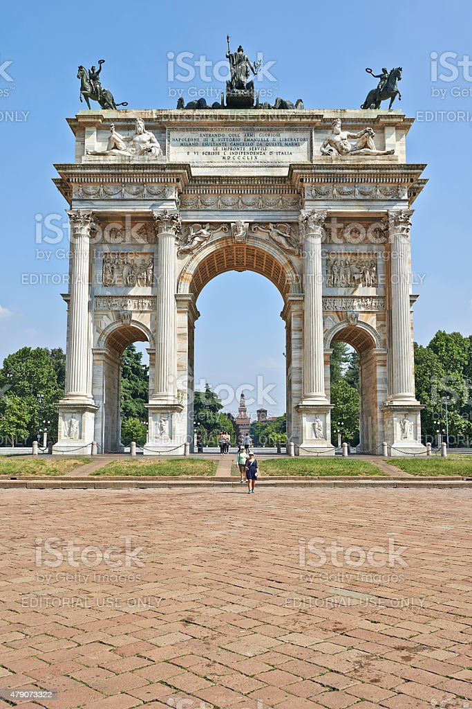 Parco Sempione and the Arch of Peace stock photo