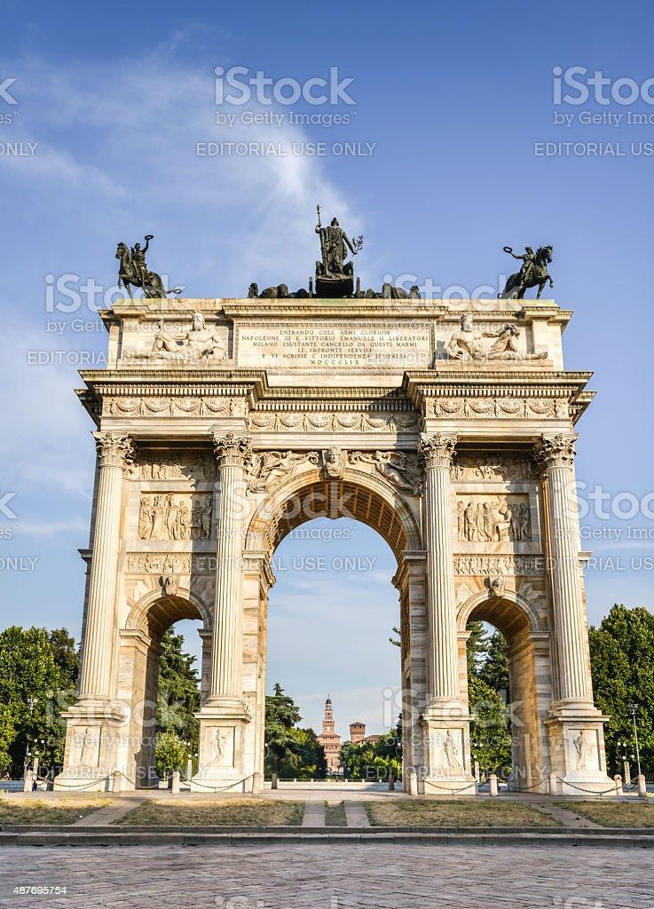 Parco Sempione, the Arch of Peace (Porta Sempione) stock photo