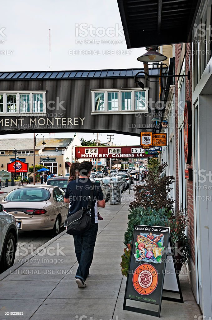 Parent and Child Shopping on Cannery Row stock photo