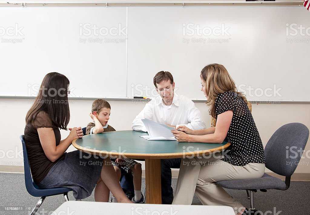 Parent Teacher Conference Including Special Needs Student stock photo