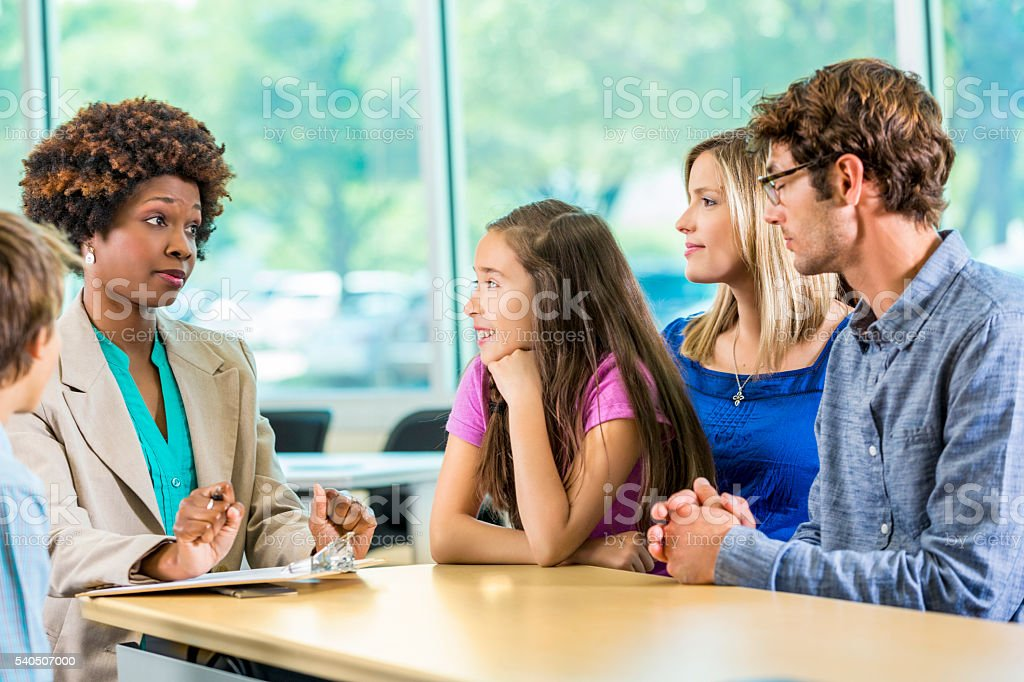 Parent teacher conference stock photo