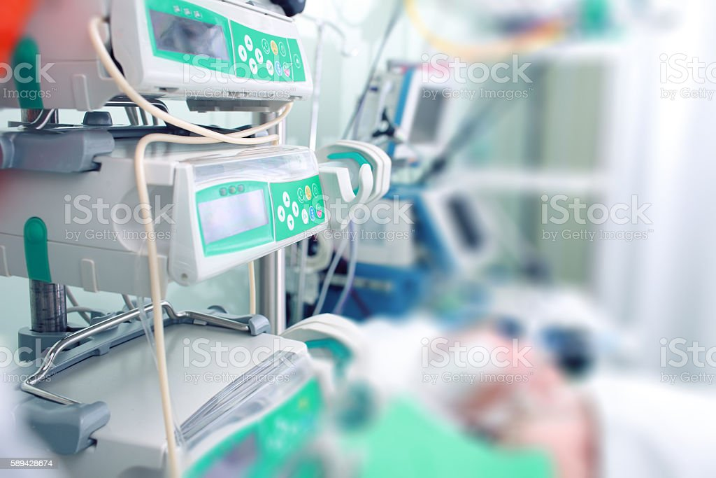 Parenteral nutrition to critically ill patients stock photo