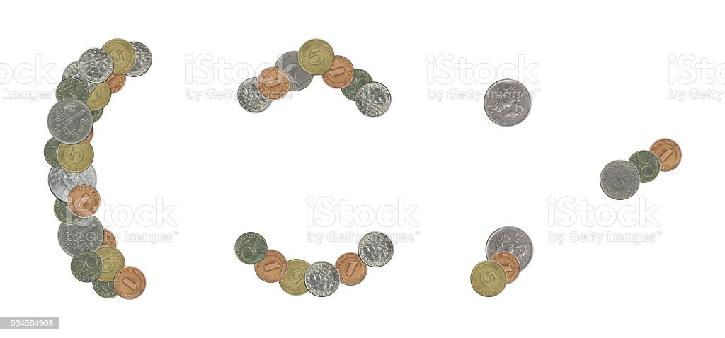 parentheses,comma,period,acute,circum,breve sign with coins stock photo