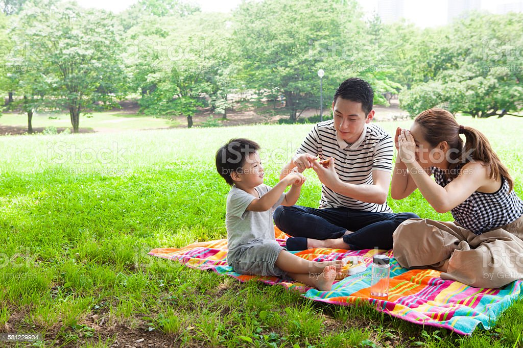 Parents and children enjoying a picnic in the park stock photo