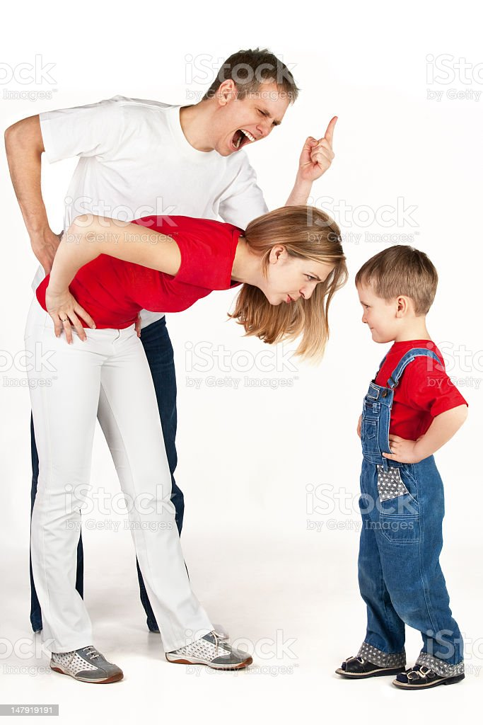 Parents arguing with young toddler royalty-free stock photo