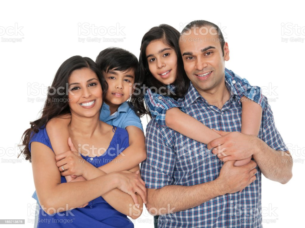 Parents Piggybacking Their Children stock photo
