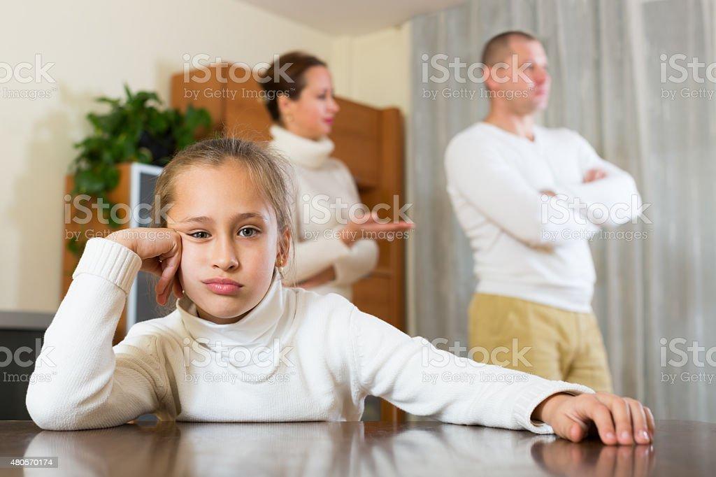 Parents quarrel at home stock photo