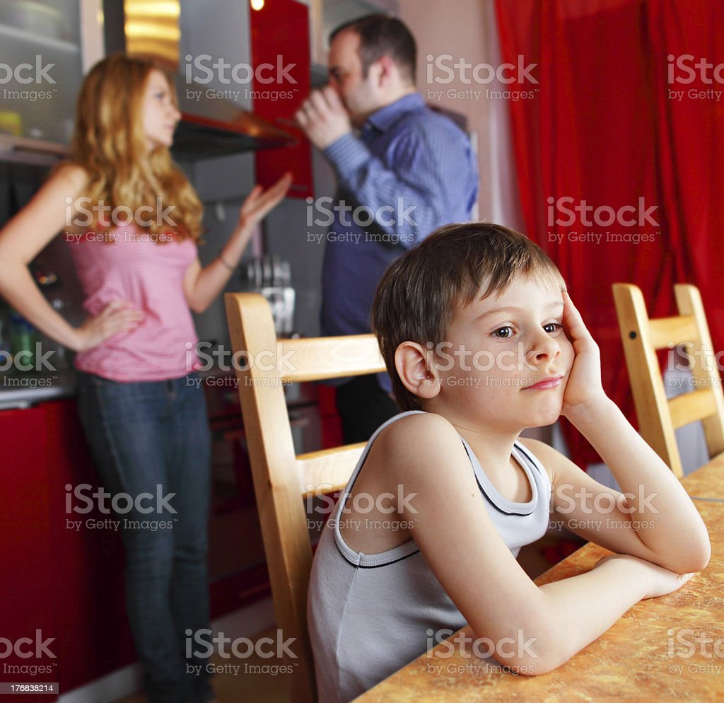 Parents swear, and child worries royalty-free stock photo