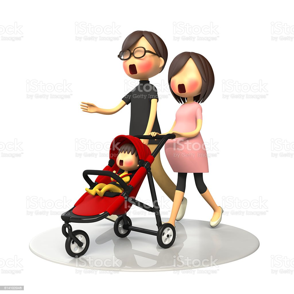Parents walking with baby buggy stock photo