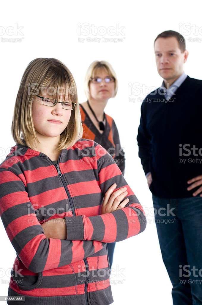 Parents with early teenager royalty-free stock photo