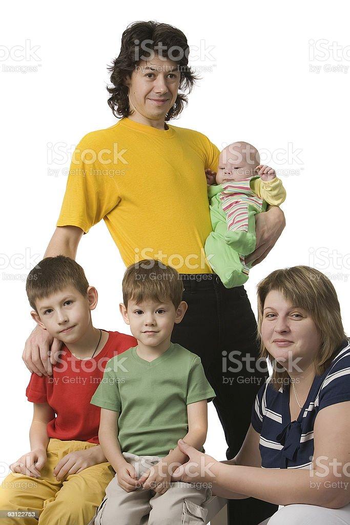 parents with three children stock photo