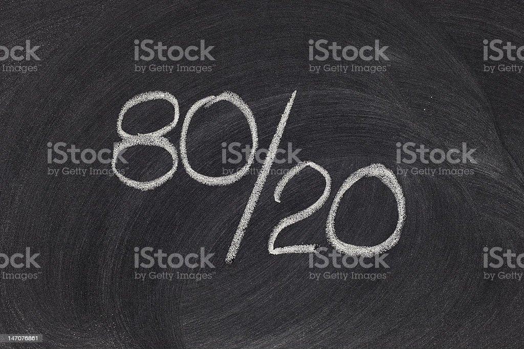 Pareto principle, eighty-twenty rule royalty-free stock photo