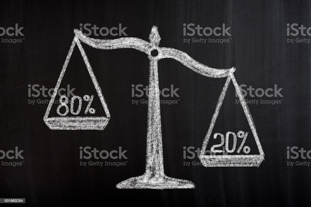Pareto Principle Scale Concept stock photo