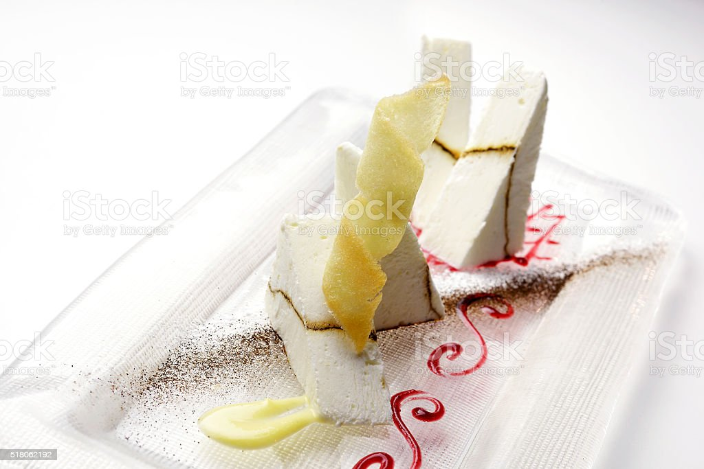 Parfait with yogurt and liquorice stock photo