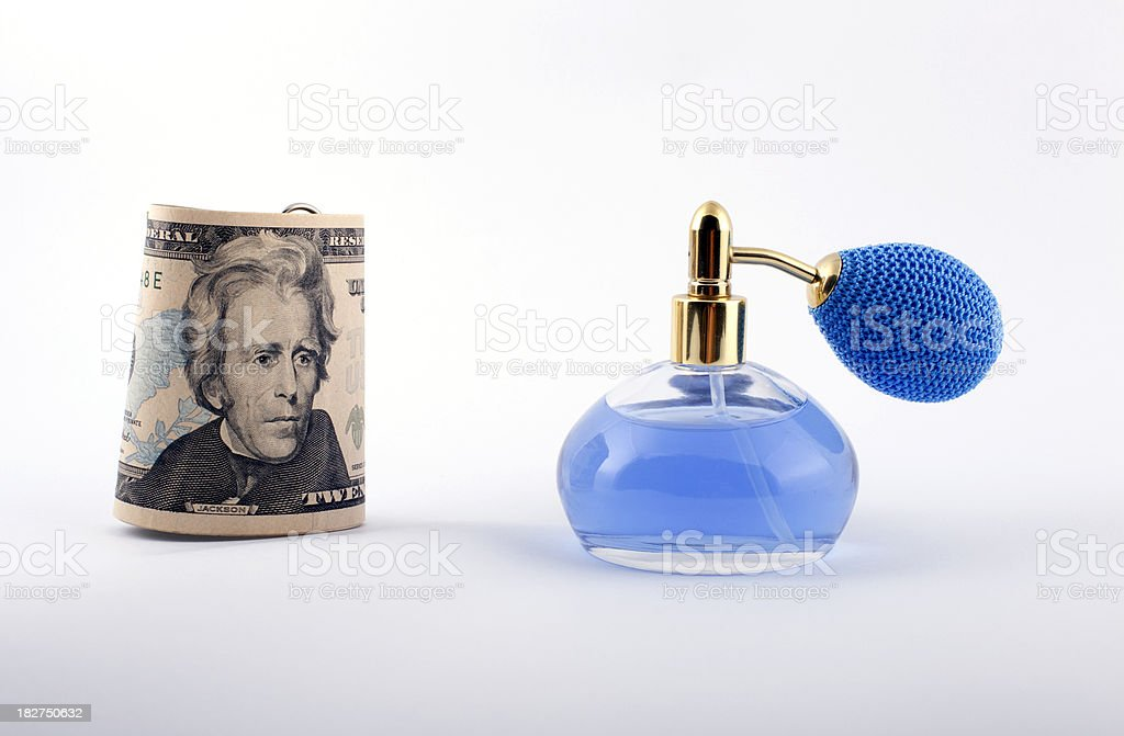 parfume with dollar stock photo