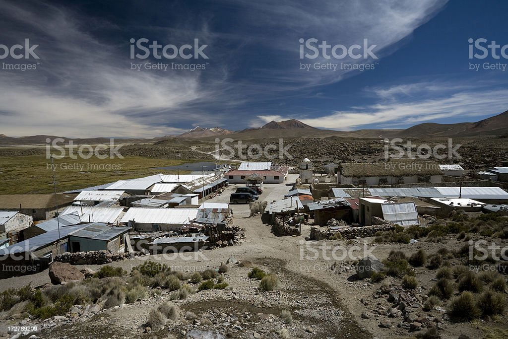 Parinacota Village stock photo