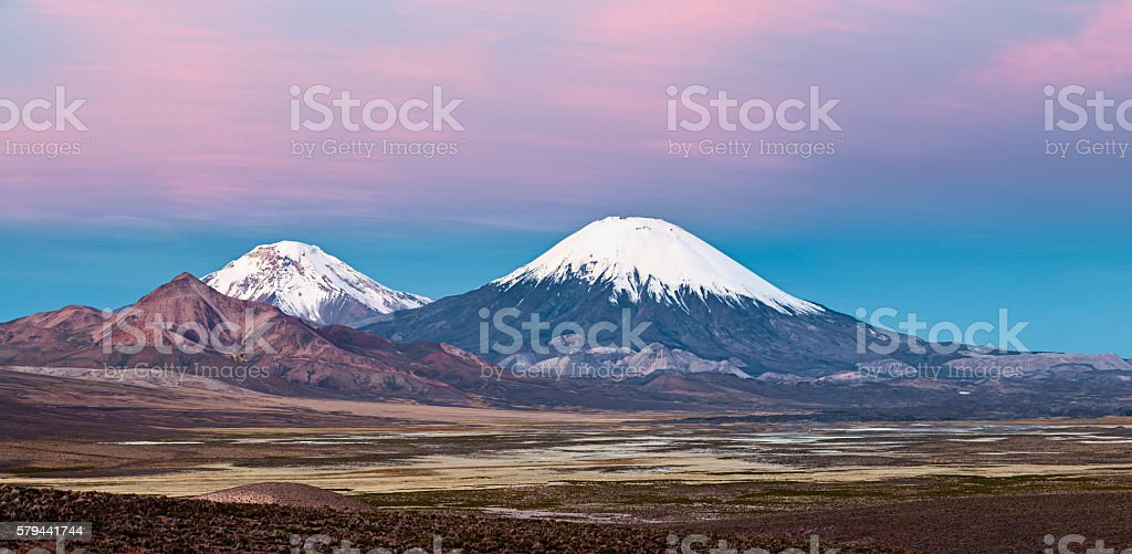 Parinacota Volcano in Lauca National Park, Chile stock photo