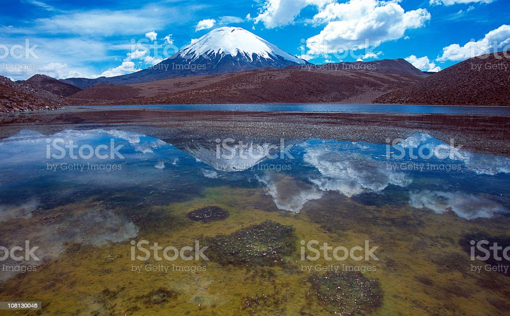 Parinacota volcano, mirrored in lake stock photo