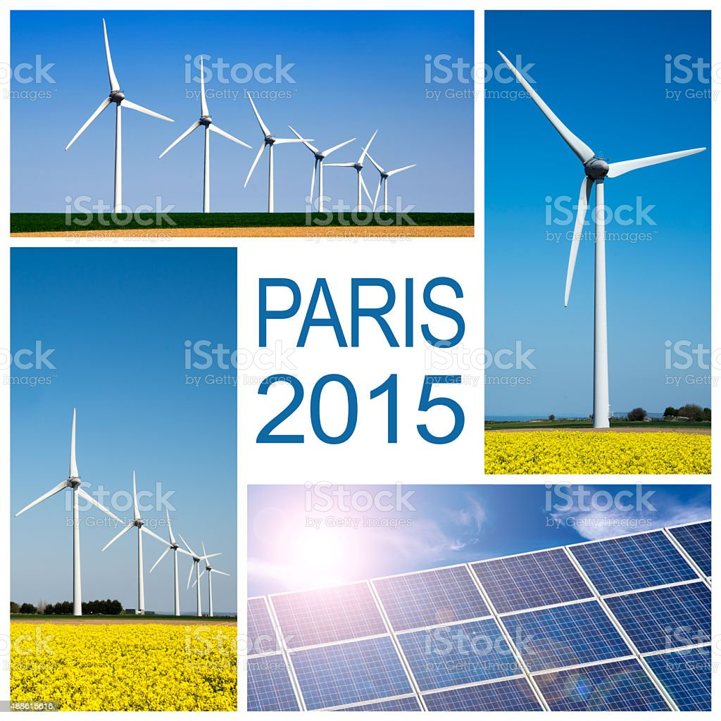 Paris 2015, climate change conference concept collage stock photo