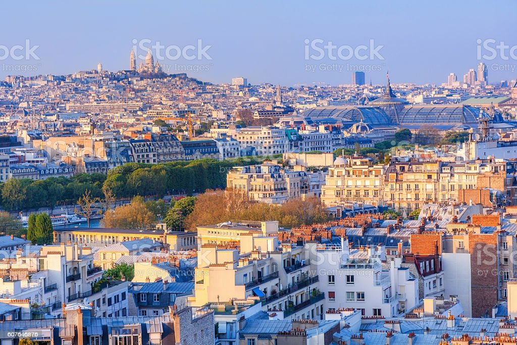 Paris, aerial view from Eiffel tower stock photo