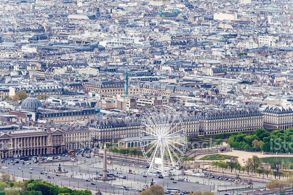 Paris aerial view,Ferris Wheel With Statue, Obelisk,Luxor,Paris, stock photo