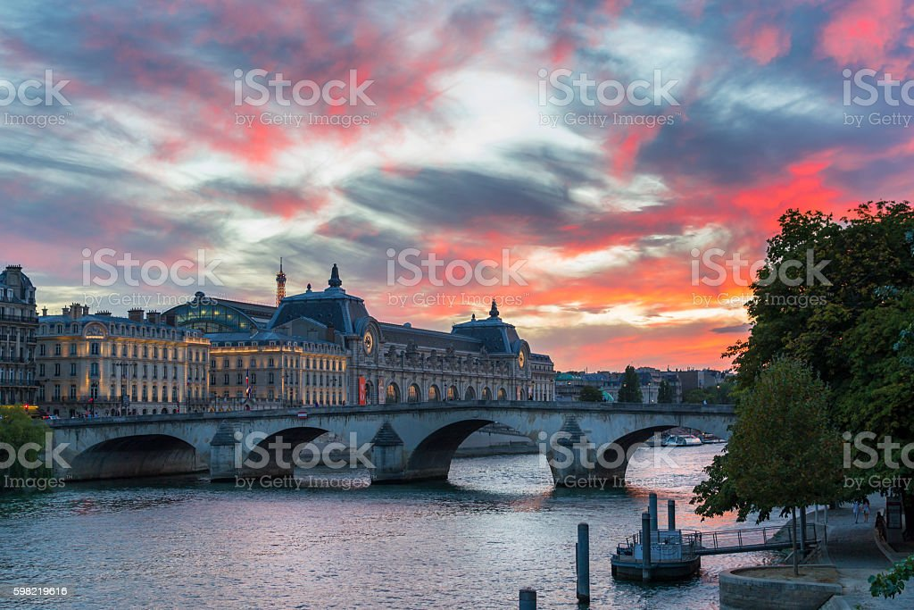 Paris afterglow stock photo